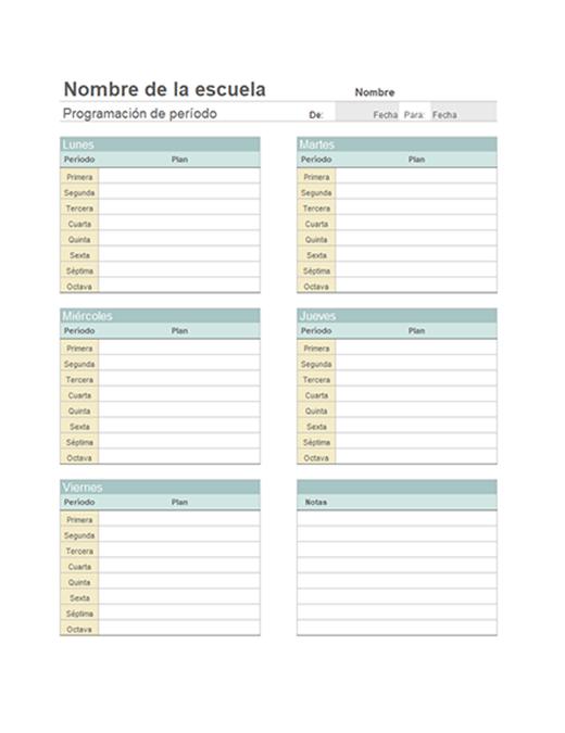 Planificador de lecciones semanales