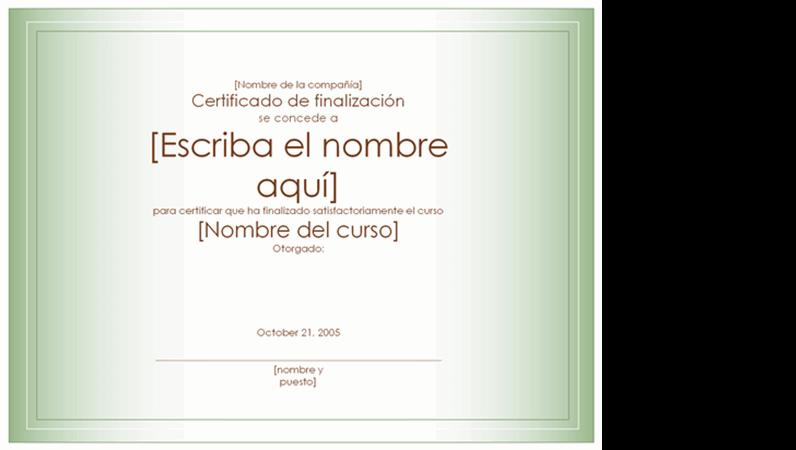 Certificado de finalización de curso