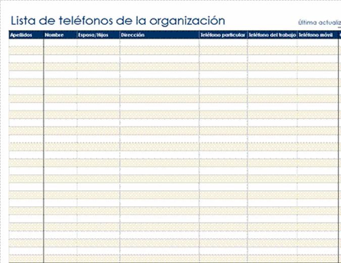 Lista de telefónos