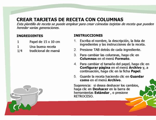 Tarjeta de receta (varias columnas)