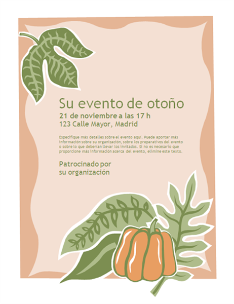 Folleto para evento de otoño (con calabaza)