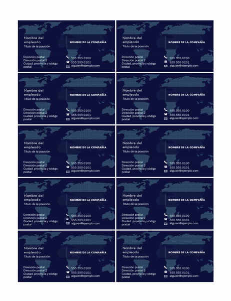 Tarjetas de presentación con mapa (10 por página)