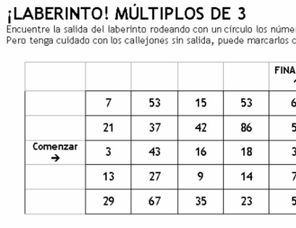 Laberinto de números nivel 1 (uno de tres)
