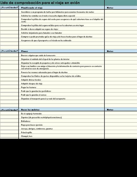 Lista de comprobación para el viaje en avión