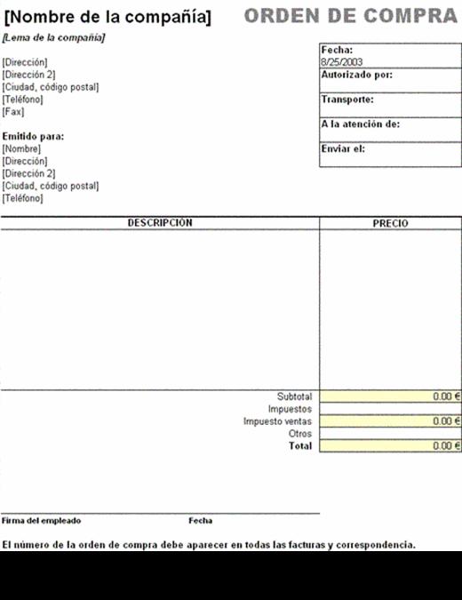 Orden de compra con impuesto de ventas