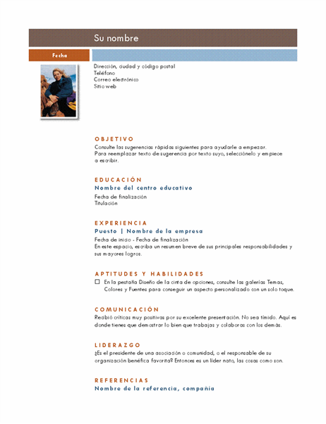 Currículum con foto (tema Intermedio)