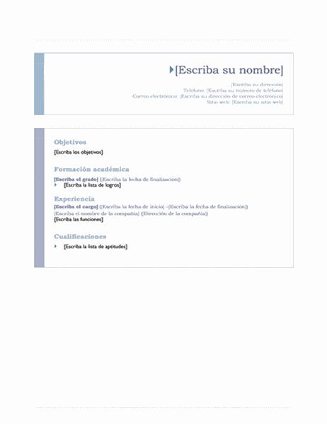 Currículum vitae (tema Origen)