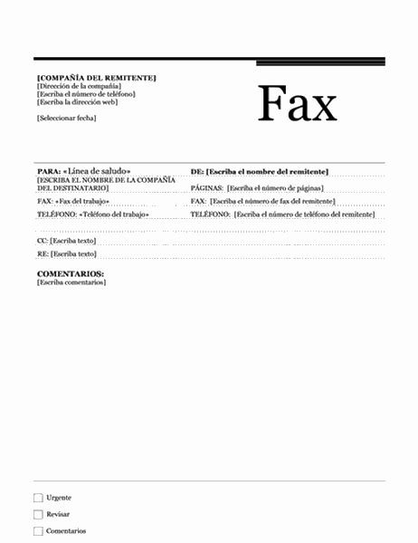 Fax de combinación de correspondencia (tema Urbano)