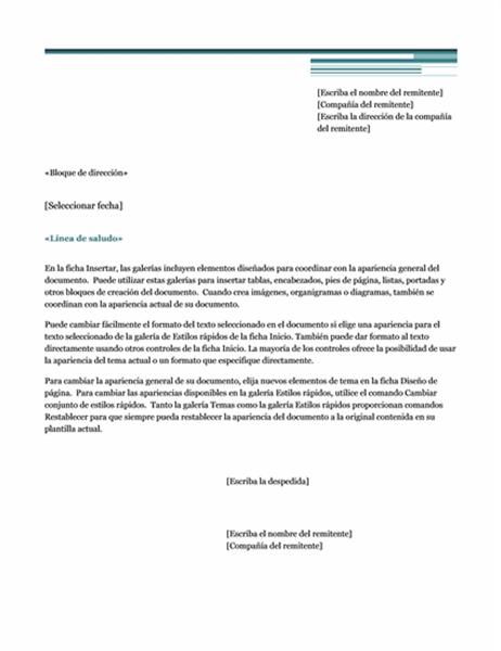 Carta de combinación de correspondencia (tema Urbano)