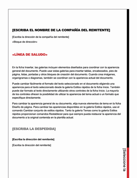 Carta de combinación de correspondencia (diseño esencial)