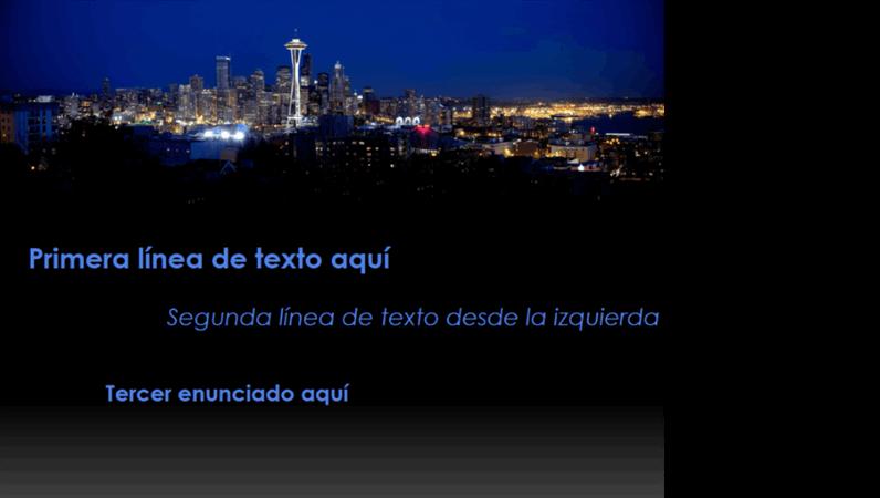 Títulos animados que cambian de color y se mueven por el paisaje urbano de Seattle