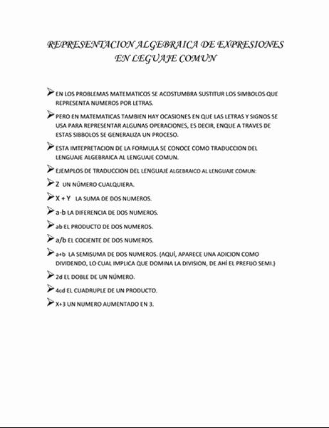 REPRESENTACION ALGEDRAICA DE EXPRESIONES EN LEGUAJE COMUN