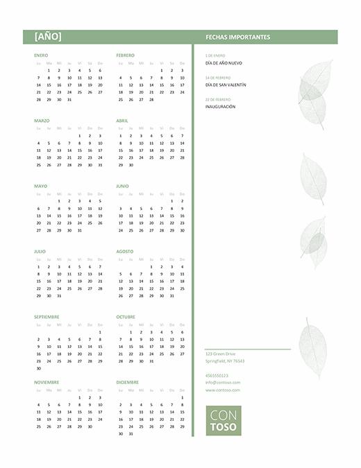 Calendario pequeñas empresas (cualquier año, de lunes a domingo)