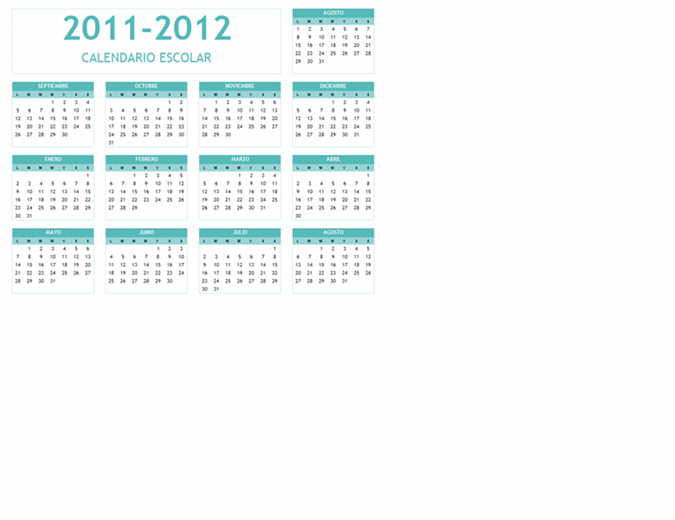 Calendario escolar 2011-2012 (Lunes-Domingo)