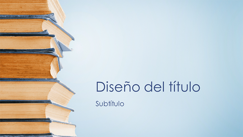 Presentación de pila de libros azul (panorámica)