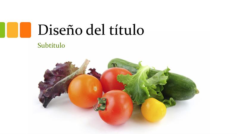 Presentación con alimentos frescos (panorámica)