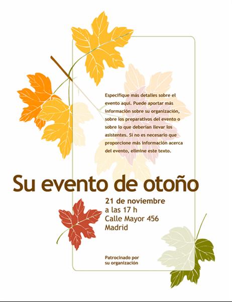 Folleto para evento de otoño (con hojas)