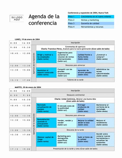 Agenda de conferencia con marcas