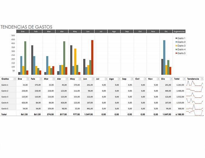 Presupuesto de tendencias de gastos