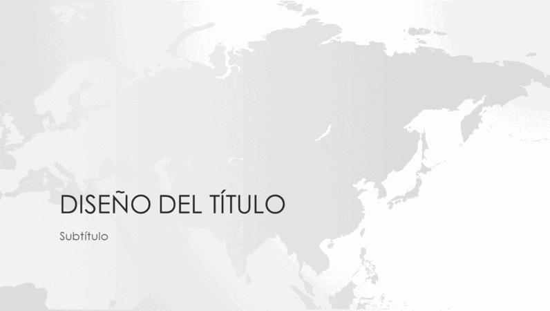 Serie de mapas del mundo, presentación del continente asiático (pantalla panorámica)