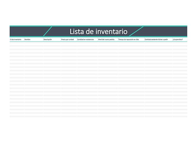 Lista de inventario