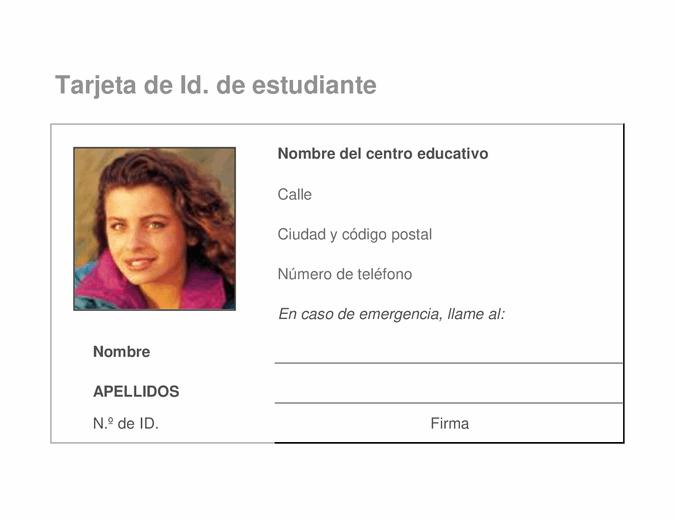 Tarjeta de identificación de alumno