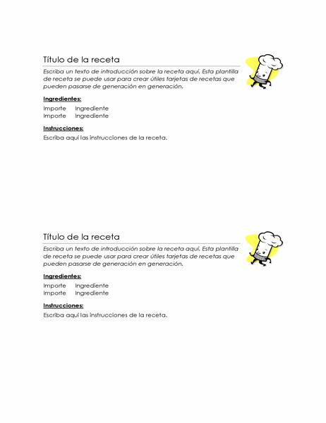 Tarjetas de recetas (2 por página)