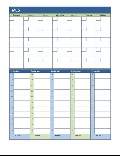 Calendario de planificación mensual y semanal