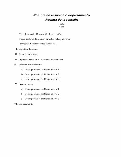 Agenda de reunión formal