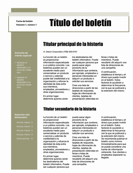 Boletín (tema Sencillo, 4 col., 6 pp.)