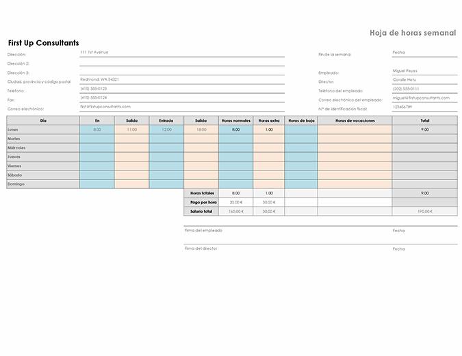 Parte de horas semanal (8,5x11, horizontal)