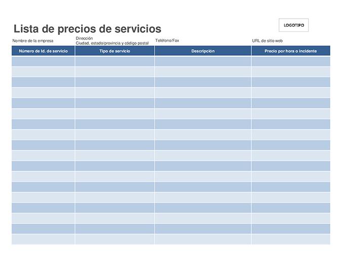 Lista de precios de servicios