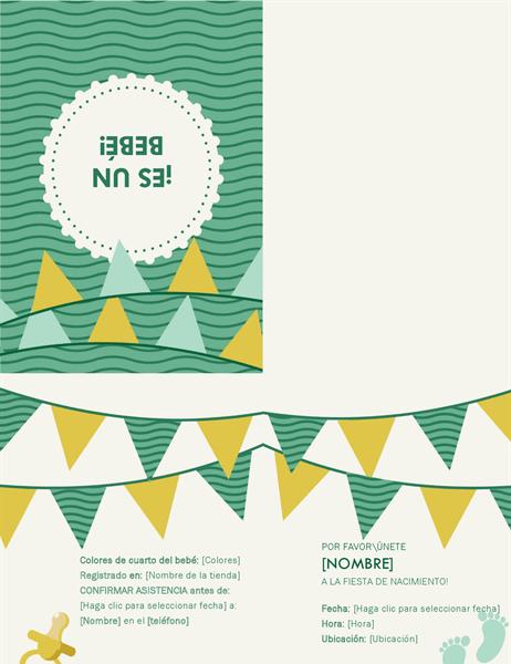 Invitación para fiesta de nacimiento con RSVP
