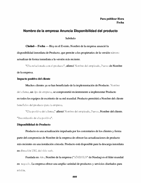 Nota de prensa con anuncio de producto