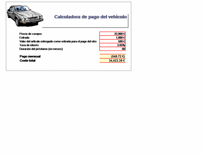 Calculadora de pago del préstamo del vehículo