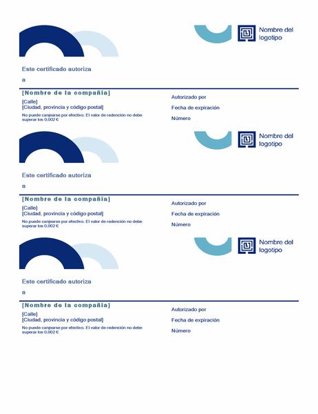 Cupones de regalo (diseño Arco, 3 por página)