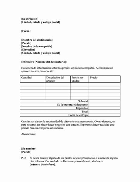Cotización de precios de las mercancías de un cliente existente