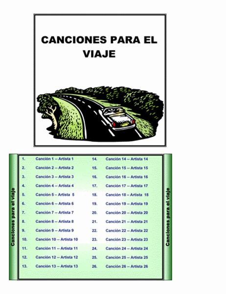 Etiquetas para cajas de CD de música para la carretera