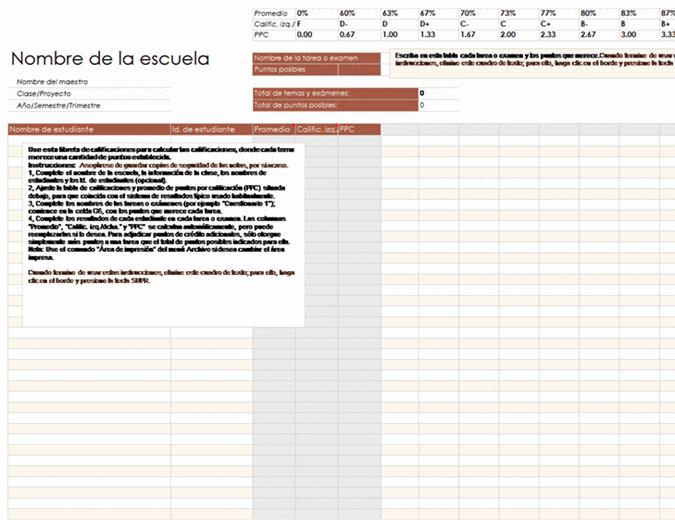 Libreta de calificaciones (por puntos)