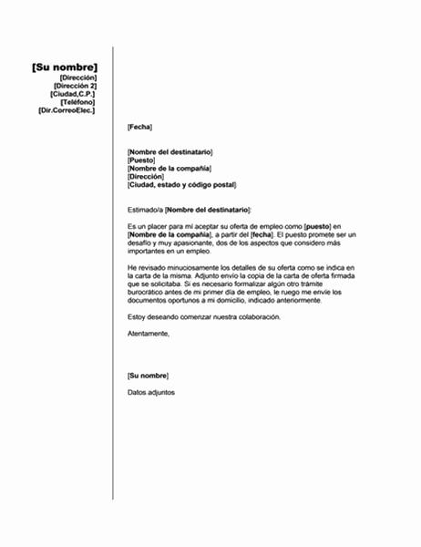 Aceptación de una oferta de empleo (tema vertical)