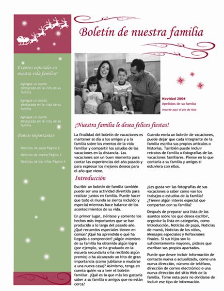 Boletín de vacaciones (con trineo y reno de Santa Claus)
