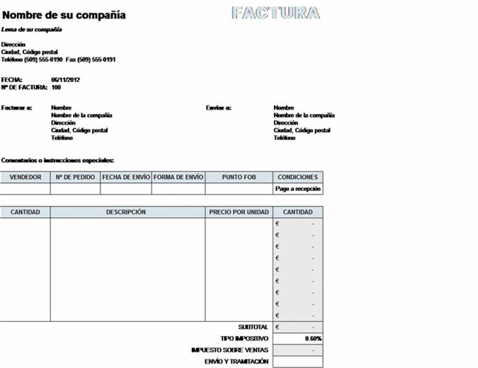 Factura de ventas con cálculo de impuestos, envío y administración