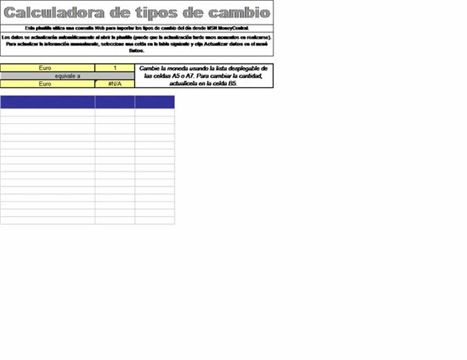 Calculadora de tipos de cambio de moneda