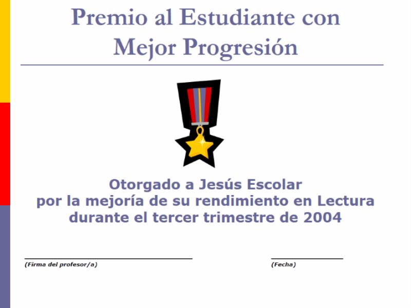 Premio al estudiante con mejor progresión