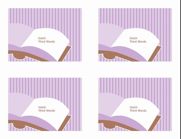 Tarjetas de aprendizaje de vocabulario (terceras palabras visuales de Dolch; revés; funciona con Avery 3263, 8387)