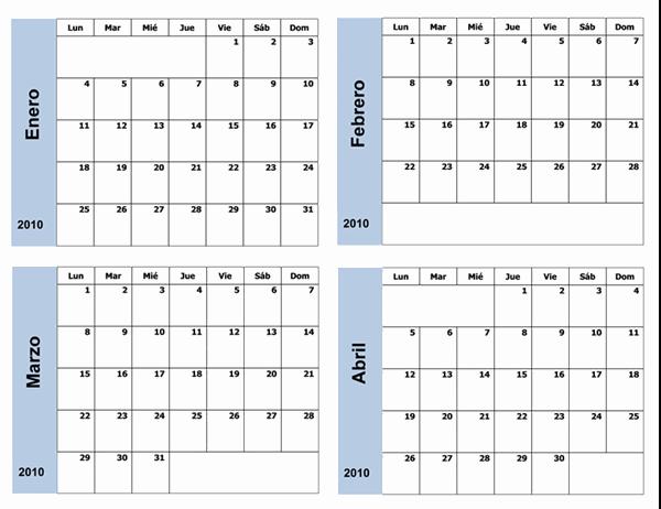 Calendario de 2010 con borde azul (3 páginas, lunes a domingo)