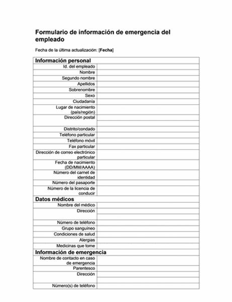 Formulario de información de emergencia del empleado