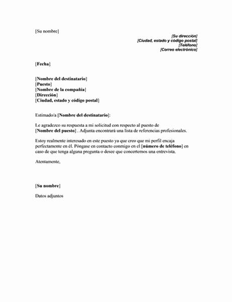 Respuesta a la solicitud de referencias