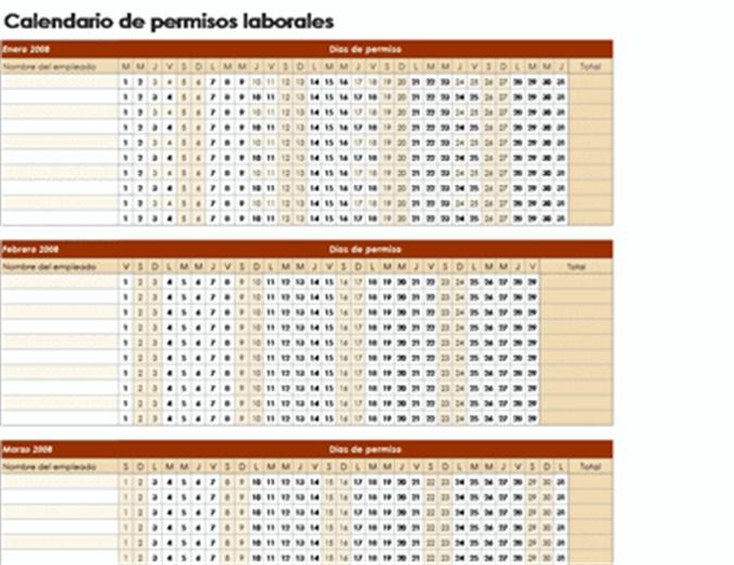 Calendario de permisos laborales 2008