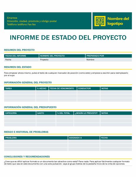 Informe de estado del proyecto (diseño atemporal)